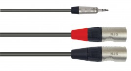 3.5mm Stereo Plug to 2 x Male XLR Signal Cable