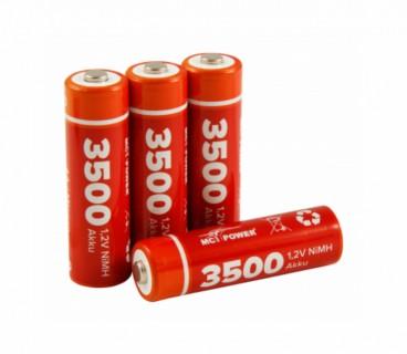 Oplaadbare NI-MH accu 1,2V, 3500 mah type AA/LR06 of de penlight , 4 pack