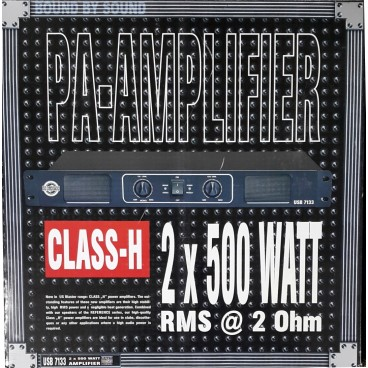 US Blaster, USB 7133 eindversterker 2 x 300 Watt RMS @ 8 Ohm 1U