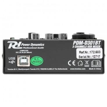 Power Dynamics PDM-D301BT 3-Kanaals USB bluetooth Mixer