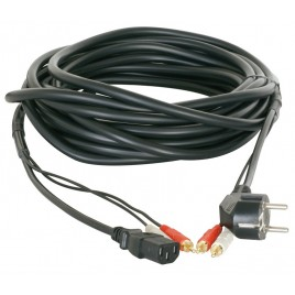 Power/Signaal kabel Audio+power  2RCA 10m