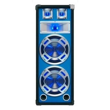 "Disco Speakerbox 2x 12"" met LED 1000W blauw"