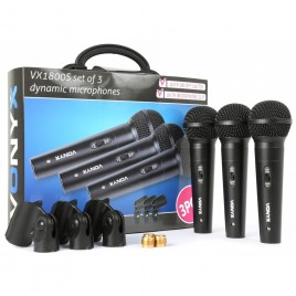 Vonyx VX1800S Dynamische Microfoon Set, 3 delig