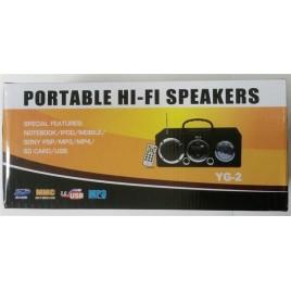 Portable speaker met FM radio USB/SD + afstandbediening + LED lamp