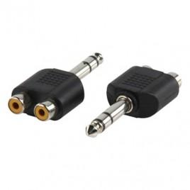 Adapter plug 6.35mm stereo stekker - 2x tulp kontra stekker