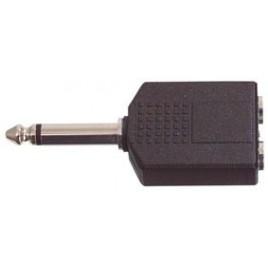 6.35mm mono stekker - 2x 6.35mm mono kontra stekker
