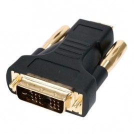 HDMI male – DVI-D male adapter verguld