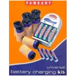FAMEART oplader met 4 x 2300 AA- en 4 x 600 AAA- en 8 C- en D-converters