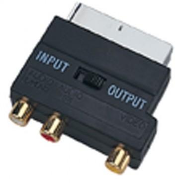 Zwarte Scart adapter met 3 scart-stekkers (Audio / Video)