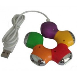 "4-Poorts USB 2.0 hub in ""flower"" vorm."