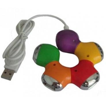 "4-Poorts USB 2.0 hub in ""flower"" vorm."