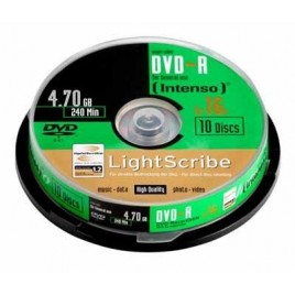 Intenso DVD-R 4,7GB Spindel Lightscribe, 10 Stuks