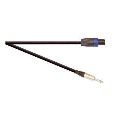Zwart Premium 10m Highflex 2x 1.5mm 6.35mm Jack Plug naar 4-polige speakone stekker