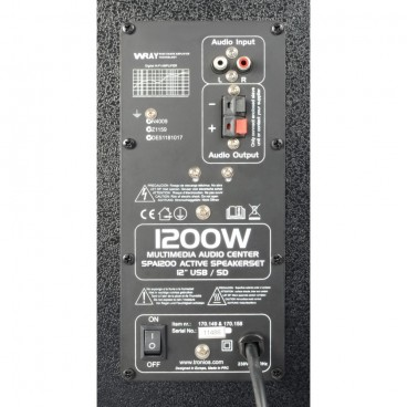 "SkyTec SPA1200Y PA Actieve speakerset 12"" USB-SD Speakers"
