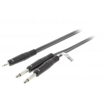Stereo Audiokabel 2x 6.35 mm Male - 3.5 mm Male 5.0 m