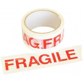 Dozentape met FRAGILE text opdruk - 48 mm x 66 m
