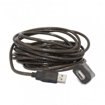 Actieve USB 2.0-verlengkabel, 5 m, zwart