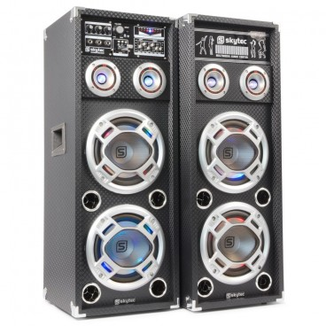 "SkyTec Actieve Speakerset 2x10"" USB / RGB LED 1600w"