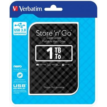 """Verbatim 2.5"""" Externe Hard Disk met USB 3.0 van 1 TB Zwart"""