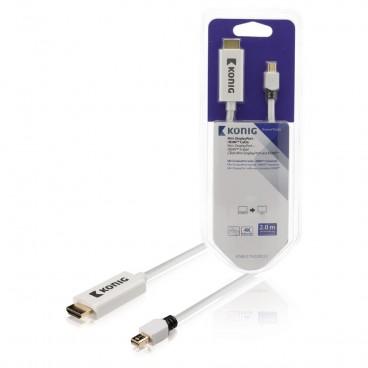 König Mini DisplayPort Kabel Mini-DisplayPort Male - HDMI-Connector 2.00 m Wit