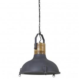 Light & Living Hanglamp KYONY - Grafiet Met Kop Hout