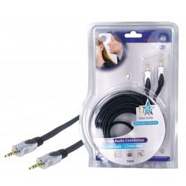 Stereo Audiokabel 3.5 mm Male - 3.5 mm Male 10.0 m Donkergrijs