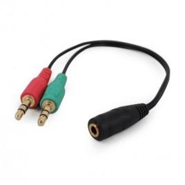 3,5 mm 4-pins aansluiting naar 2 x 3,5 mm stereo adapterkabel, zwart