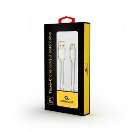 USB-C kabel katoen, 1.8 meter zilver, Blister