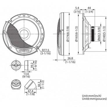 Kenwood 17cm-2weg 300w Compo Kit Speakers