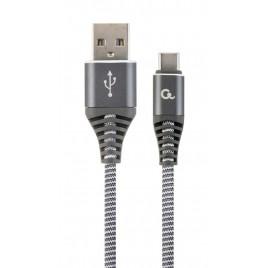 Premium USB Type-C laad- & datakabel 'katoen', 2 m, spacegrey/wit