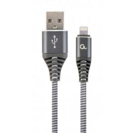 Premium 8-pin laad- & datakabel 'katoen', 1 m, spacegrey/wit