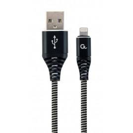 Premium 8-pin laad- & datakabel 'katoen', 2 m, zwart/wit
