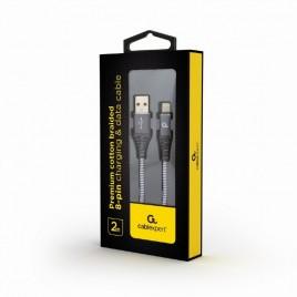 Premium 8-pin laad- & datakabel 'katoen', 2 m, spacegrey/wit