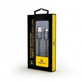 Premium USB Type-C laad- & datakabel 'metaal', 2 m, metallic-grijs