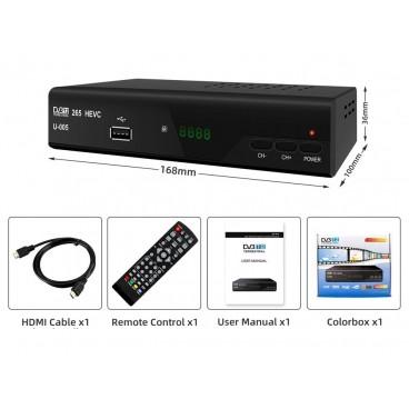 Full HD DVB-T2 Ontvanger 1080p HEVC H.265 Free to Air (FTA)  DVB-T2-ontvanger voor de ontvangst van HEVC/H.265