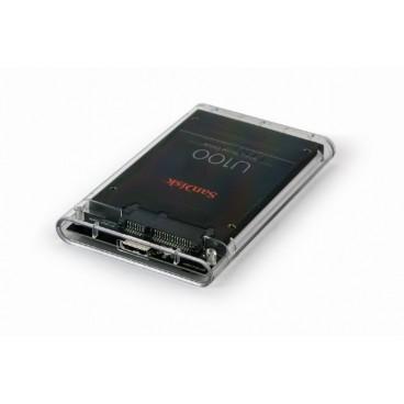 """USB 3.0 externe HDD behuizing voor 2.5"""" SATA schijven van 9,5 mm, transparant"""