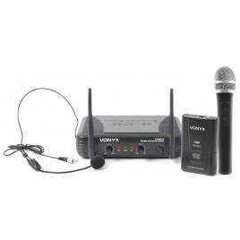 Vonyx VHF Microfoon Systeem 2-kanaals Combi