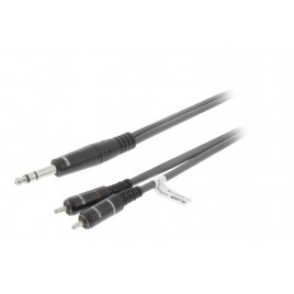 SWEEX Stereo Audiokabel 6.35 mm Male - 2x RCA Male 1.5 m Donkergrijs