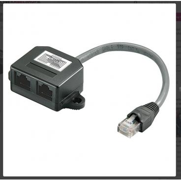 ISDN verdeler, 1x RJ45 plug naar 2x RJ45 contra