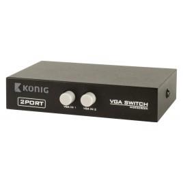 Konig 2-Poorts VGA Schakelaar Zwart