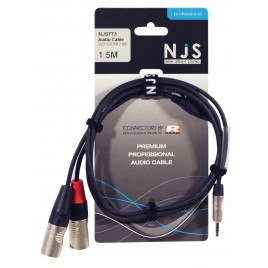 3.5mm Stereo Plug naar 2x Male XLR Signal Cable