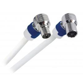 Hirschmann Coaxkabel FEKAB Coax Male (IEC) - Coax Female (IEC) 5.00 m Wit/Blauw