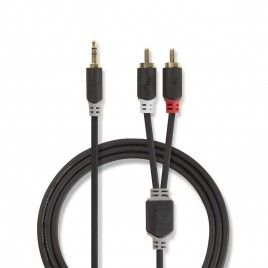 Stereo audiokabel | 3,5 mm male - 2x RCA male | 10 m | Antraciet