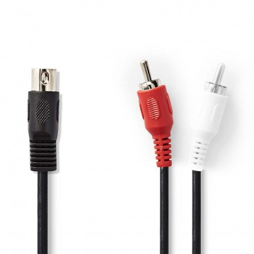 DIN-Audiokabel | DIN 5-Pins Male - 2x RCA Male | 1,0 m | Zwart