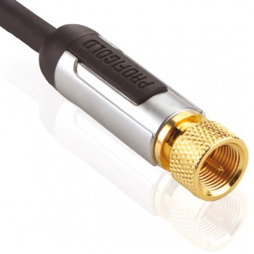 Profigold Hi-End 24k Vergulde Coax Aansluitkabel met F-Connectors 2.0m