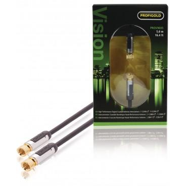 Profigold Hi-End 24k Vergulde Coax Aansluitkabel met F-Connectors 5.0m